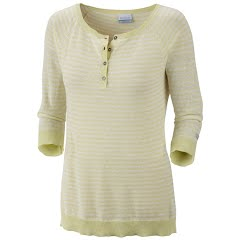 Columbia Women's Perfect Layer Striped Henley - Fresh Kiwi Sea