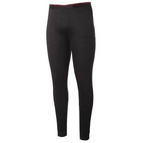 M T Mountaineering Mens Poly Mid Weight Thermal Base Layer Bottoms – Black