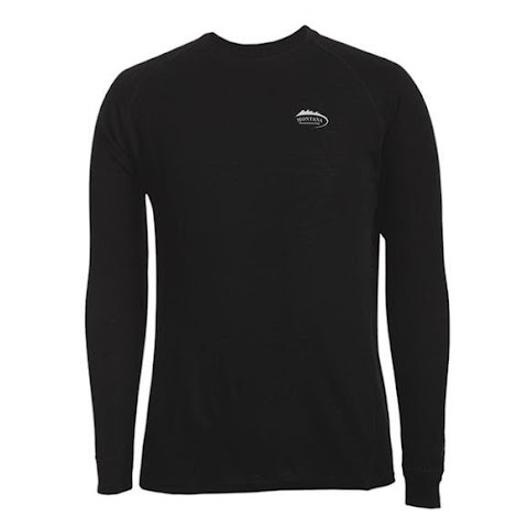Image of M T Mountaineering Mens Poly Mid Weight Thermal Base Layer Crew Top - Black