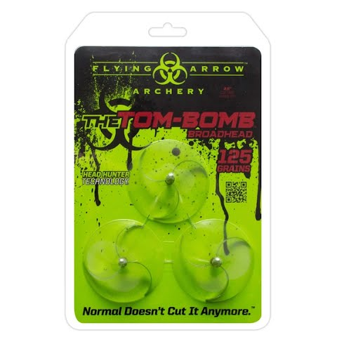Image of Flying Arrow Archery Tom Bomb 125 - Grain Red With Chisel Tip Broadhead ( 3 - Pack )