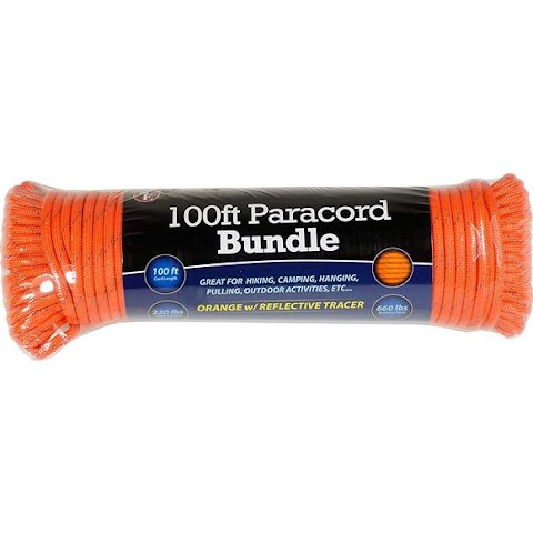 Sona Enterprises 100ft Orange W / Reflective Tracer Paracord Bundle