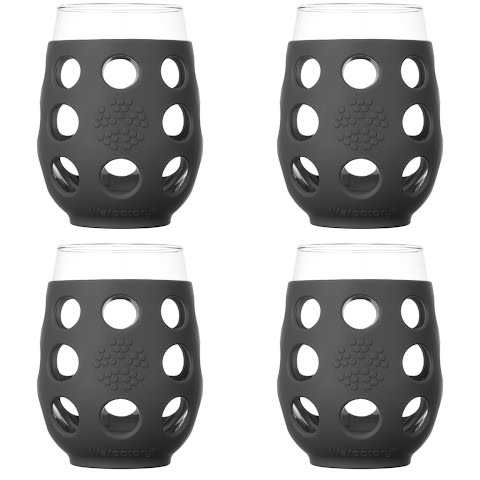 Image of Lifefactory 17 Ounce Wine Glasses With Silicone Sleeves ( 4 Pack ) - Carbon