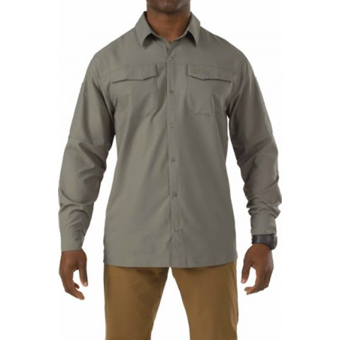 Image of 5 . 11 Tactical Men ' S Freedom Flex Woven Long Sleeve Shirt - Sage Green