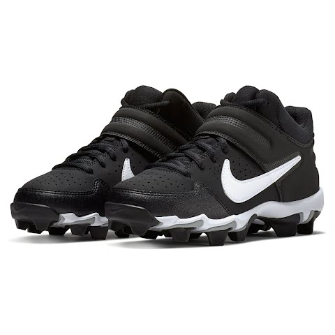 Nike Youth Boy ' S Alpha Huarache Varsity Keystone Mid Baseball Cleats - Black / White / Black (1255432 AO7582) photo