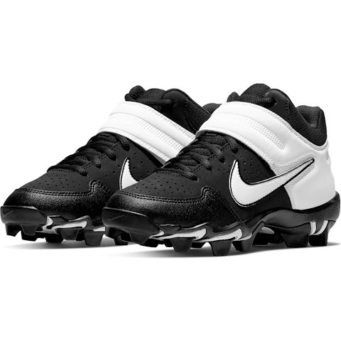 Nike Youth Boy ' S Alpha Huarache Varsity Keystone Mid Baseball Cleats - Black / White (1307132 AO7582) photo