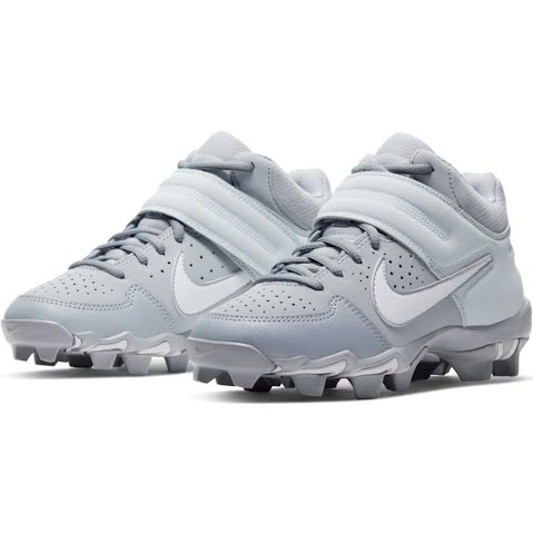 Nike Youth Boy ' S Alpha Huarache Varsity Keystone Mid Baseball Cleats - Wolf Grey / White / Pure (1307141 AO7582) photo