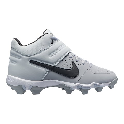 Nike Youth Boy ' S Alpha Huarache Varsity Keystone Mid Baseball Cleats - White / Thunder Grey / (1255449 AO7582) photo
