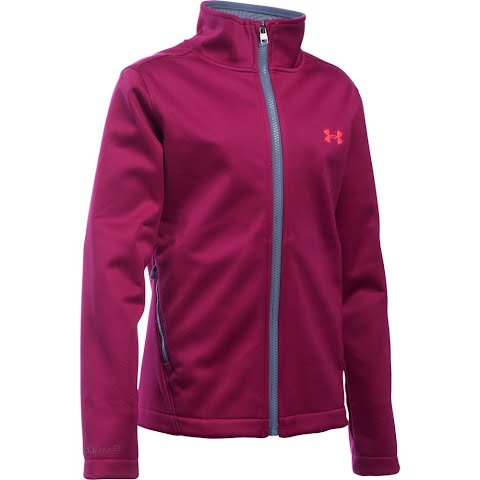 Under Armour Mountain Youth Girl's Ua Coldgear Infrared Softershell - Black Cherry