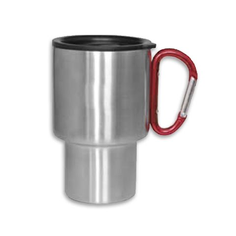 Image of A . G . S . Labs Stainless Steel Carabiner Travel Mug - Red