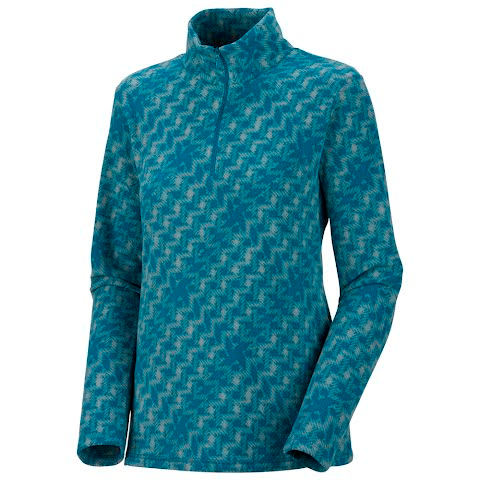 Columbia Womens Glacial Ii Fleece Print Half Zip ( Plus Sizes ) - Dark Turquoise