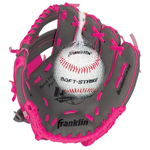 Product image of Franklin Youth Teeball Performance Series 9 . 5 In . Baseball Glove With Ball - Graphite / Pink