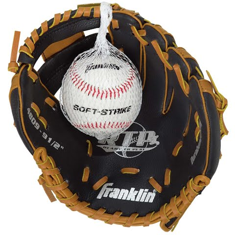 Product image of Franklin Youth Tee Ball Performance Series 9 . 5 '' Baseball Glove With Ball ( Black / Tan ) -