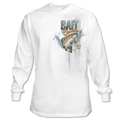 Product image of Graphic Imprints Mens Bait Chuckers Get Your Worm On Graphic L / S Tee - White
