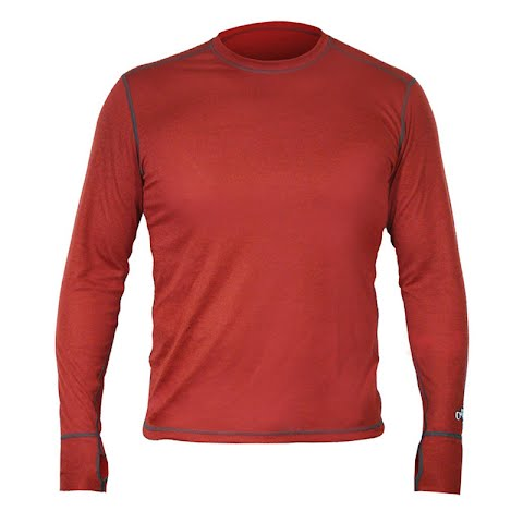 Image of Hot Chillys Men ' S Geo Long Sleeve Crew - Ember Heather