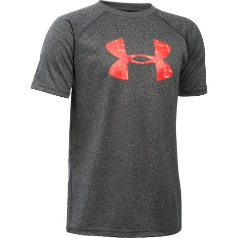 Product image of Under Armour Boy's Youth Tech Big Logo Short Sleeve T - Shirt - Carbon Heather / Volcano