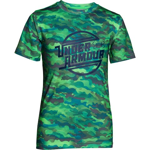 Under Armour Boy ' S Youth Coolswitch Thermocline Short Sleeve Shirt – Laser Green Camo