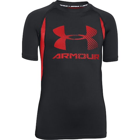 Product image of Under Armour Boy ' S Youth Heatgear Armour Up Digi Fitted Short Sleeve Shirt - Black
