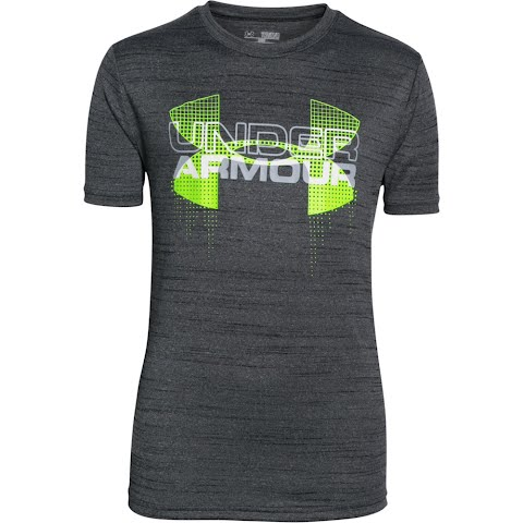 Product image of Under Armour Boy ' S Youth Tech Big Logo Hybrid T - Shirt - Black / Green