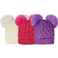 Grand Sierra Girl's Double Faux Fur Pom Cuff Hat Image