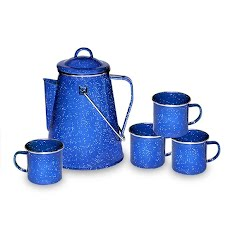 Stansport Enamel 8-Cup Percolator and 4 Mug Set Image