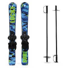 Lucky Bums Kids Beginner Skis and Poles (70cm) Image