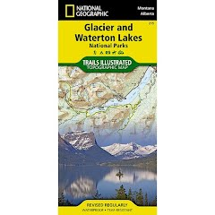 National Geographic Glacier and Waterton Lakes National Parks Map Image