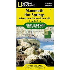 National Geographic Mammoth Hot Springs: Yellowstone National Park NW Map Image