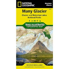 National Geographic Many Glacier: Glacier and Waterton Lakes National Parks Map Image