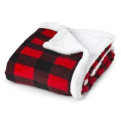 Trail Crest Plush Coral Double Layer Fleece Plaid Blanket Image