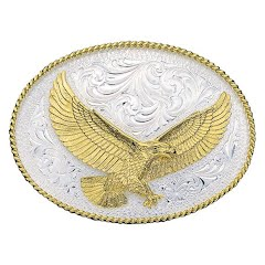 Montana Silversmiths Silver Engraved Western Belt Buckle with Large Eagle Image