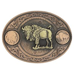 Montana Silversmiths Miner's Buffalo Indian Head Nickel Belt Buckle with Buffalo Image