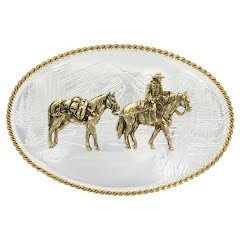 Montana Silversmiths Etched Mountains Western Belt Buckle with Pack Horse and Rider Image