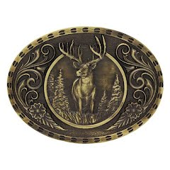 Montana Silversmiths Heritage Outdoor Series Wild Stag Carved Buckle Image