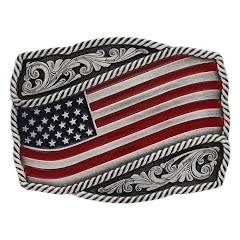 Montana Silversmiths Classic Painted Waving American Flag Attitude Buckle Image