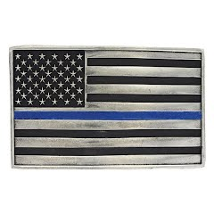 Montana Silversmiths Stand behind the Blue Line Flag Attitude Buckle Image