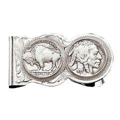 Montana Silversmiths Buffalo Indian Nickel Scalloped Money Clip Image