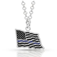 Montana Silversmiths I Stand Behind the Thin Blue Line Flag Necklace Image