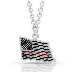 Montana Silversmiths I Stand Behind the Thin Red Line Flag Necklace Image