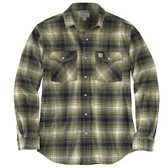 Carhartt Rugged Flex Relaxed Fit Flannel Long-Sleeve Snap-Front Plaid Shirt Image
