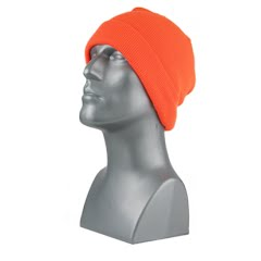 Grand Sierra Men's Blaze Orange Acrylic Knit Super-Stretch Cuff Hat Image