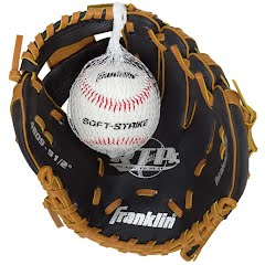 Franklin Youth Tee Ball Performance Series 9.5'' Baseball Glove with Ball (Black/Tan) Image