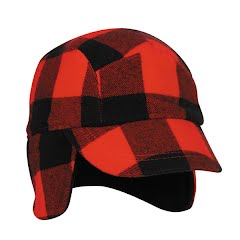 Outdoor Cap Red and Black Plaid Hunting Cap with Earflaps Image