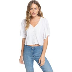Roxy Women's Hanging Moon Cropped Buttoned V-Neck Top Image