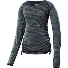 Terramar Women`s Pebble Melange Reversible Scoop Long Sleeve Top Image