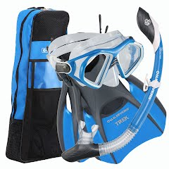 Us Divers Admiral LX Mask, Island Dry LX Snorkel, Trek Fins and Travel Bag Image