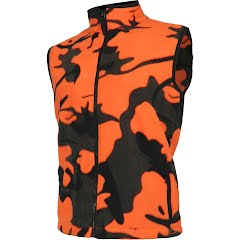 World Famous Men's Woodland Orange Camo Fleece Vest Image