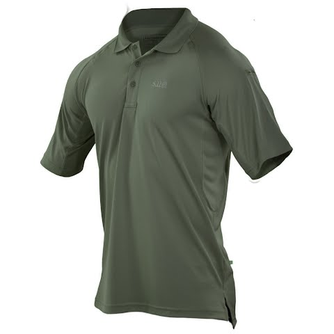 Image of 5 . 11 Tactical Men's 5 . 11 Performance Short Sleeve Logo Polo - 190tdugreen