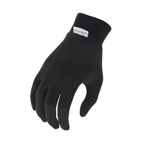 Image of Terramar Adult Silk Interlock Glove Liner - Black