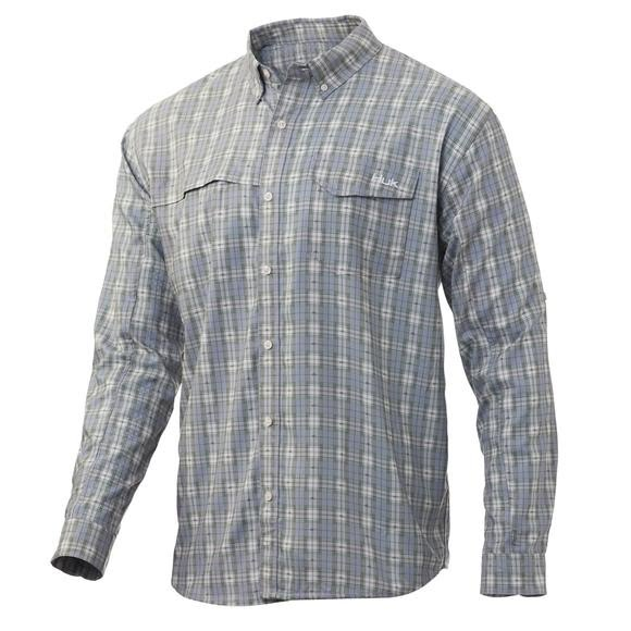 Huk Men's Tide Point Fish Plaid Long Sleeve Shirt Image