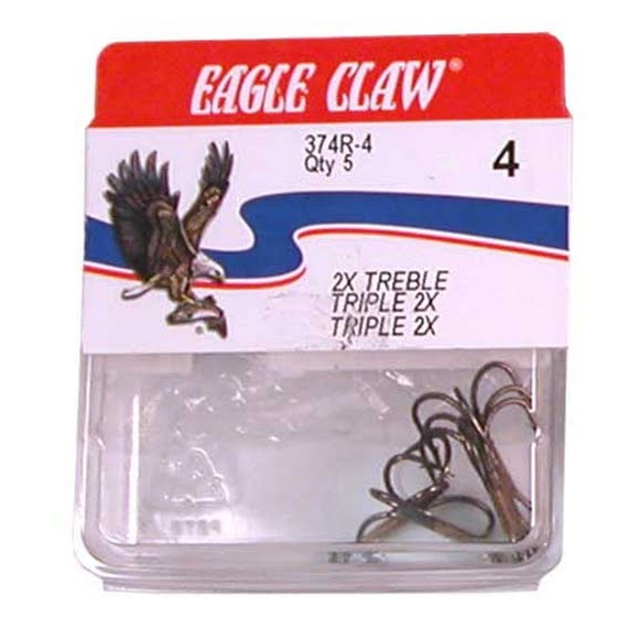 Eagle Claw 2X Treble Hooks (Qty 5) Image